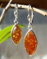 5.46g UNIQUE Natural Authentic Cognac BALTIC AMBER 925 Sterling Silver Earrings