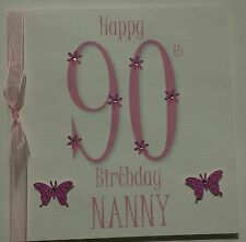 PERSONALISED HANDMADE 90TH PINK BIRTHDAY CARD NANNY MUM GRAN GRANNY NAN AUNTIE