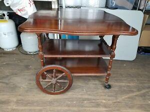 Antique Vintage Wood Tea Cart Wagon Wheel Dual Drop Leaf