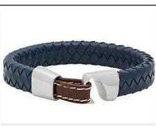 Blue Braided Genuine Leather Bangle Bracelet Wristband For Men Women