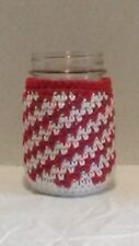 Christmas decorated mason jars with crochet cover
