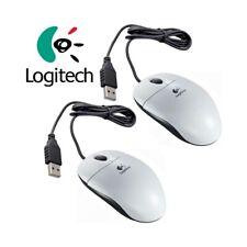 2X USB Optical Mouse Logitech OEM 1000DPI White Ergonomic High Precision