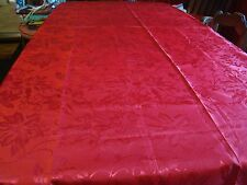 "Red Christmas Design Cloth Tablecloth 84"" x 60"" Oblong  100% Polyester  Used"