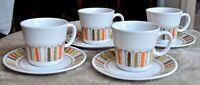 Mid Century -  Set of 4 Noritake Progression Mardi Gras  -Coffee Cup and Saucer