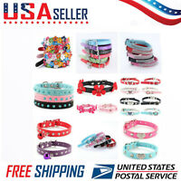 Adjustable Small Pet Dog PU Leather Collar Puppy Cat Buckle Neck Strap Cute USA