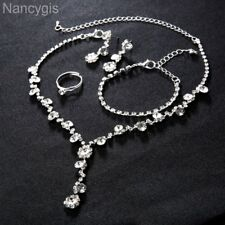 Silver Crystal 4pcs Necklace Bracelet Earrings Ring Formal Wedding Jewellery Set