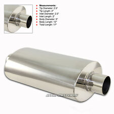 """No Tip T-304 Stainless Steel Body Muffler Resonator Canister w/ 2.5"""" Inlet"""