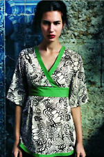 Fei Anthropologie Lashbuna Green Black Floral Asian Kimono Top Blouse 4 Small S