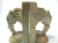 """Hand Carved Genuine Soap Stone Elephant Book Ends Pink Gray 5.7/8"""" x 3"""" x 3.5"""""""