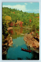 Ausable Chasm, New York - SCENIC VIEW WITH RIVER BOAT CANOE - ROADSIDE POSTCARD