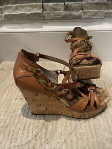 Michael Kors Tan Leather Strap Cork Wedge Sandal Size 7
