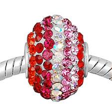 """Massiccio ORIGINALE 925 argento cristallo Bead """"Big Size"""" ROSSO + REGALO"""