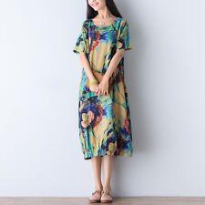 UK SELLER UK 24 Zanzea Women Floral Crewneck Shortsleeve Aline Long Dress