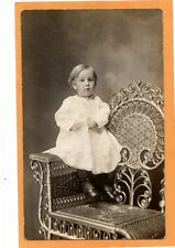 Studio Real Photo Postcard RPPC - Child on Beautiful Wicker Chair