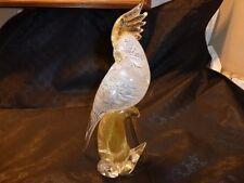 VETRI MURANO BIRD, PARROT, COCKATOO, GOLD FLECKS, CLEAR, WHITE SWIRLS, STUNNING!