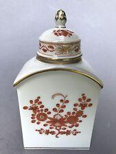 Meissen Porzellan handbemalte Deckel Teedose Indische Korallen-Rot-Malerei ~1970