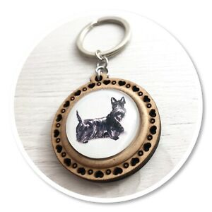 Scottish Terrier  Wooden  keyring key ring scottie black dog
