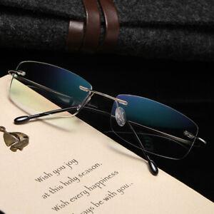 Titanium alloy anti-blue light B titanium Rimless elastic reading glasses reader