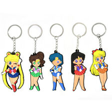 5pcs Sailor Moon Tsukino Usagi Mars Mercury Rubber Keychain Key Ring Set Charm