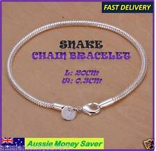 Hallmarked 925 sterling silver p womens snake chain Bracelet add your own charm