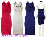 KAREN MILLEN Signature Satin Dress UK14 (12) Silver Halterneck Dry Cleaned