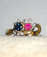SOLID 14K Gold   RUBY  SAPPHIRE    Diamond    Ring