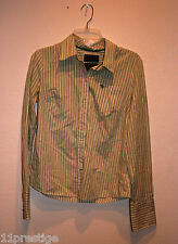 EZRA FITCH WOMEN'S BUTTON DOWN SHIRT MULTI-GREEN STRIPED LONG SLEEVE SIZE L