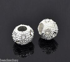 10PCs Silver Plated Rhinestone Ball Round Beads 10mm Dia. GIFTS