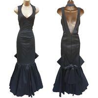 Size UK 10 Karen Millen Black Shimmer Bias Cut Prom Wedding Ball Maxi Long Dress