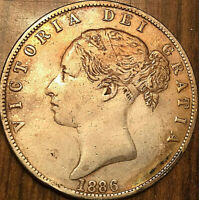 1886 GREAT BRITAIN VICTORIA SILVER HALF CROWN COIN - Cleaned