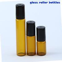 3ml 5ml 10ml Amber Roll on Glass Bottles Essential Oil Glass Roller Ball  NEW