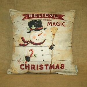 Believe In The Magic Of Christmas Snowman Throw Pillow Primitives by Kathy