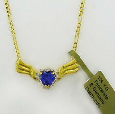 TANZANITE 1.18 Cts & DIAMONDS NECKLACE 10K YELLOW GOLD* NWT ** FREE APPRAISAL **
