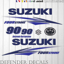 Suzuki 90 hp Four Stroke outboard engine decal sticker set kit reproduction BLUE