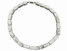 Vintage Sterling Silver Statement Necklace Gray White Marbled Stone Jewelry 904f