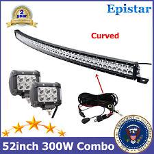 Curved 300W 52'' LED Work Light Bar SLIM+18W Pods Harness Kit fit Car GMC Truck