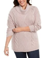 Charter Club Women's 1x Plus Size Cowl-Neck Cable-Knit Sweater, Pink, NwT