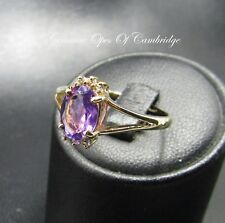 9ct Gold Oval cut Amethyst and Diamond Cluster Ring Size P 2.2g