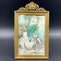 19th C.Antique French Romantic Victorian Lovers Scene Painting Gilt Bronze Frame