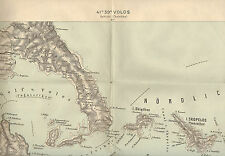 1909 Original Military Topographic Map Volos Chalkidike Chalcidici  Greece
