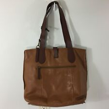 Lucky Brand Women's Camel Colored Leather Tote Handbag Purse Large