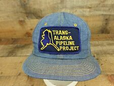 Trans Alaska Pipeline Project Hat Cap Oil Patch Snapback Trucker Blue Denim Vtg