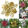 10X Christmas Poinsettia Glitter Flower Tree Hanging Party Xmas Decor
