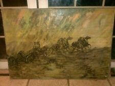 Large Louis Lundean oil painting of a horse race. Well listed artist. (1894-1961