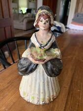Antique Lady Doorstop Cast Iron, Basket Fruit Rare