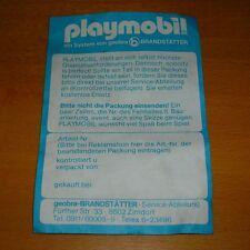 Reklamationsformular Playmobil 70er Jahre geobra Qualitätszertifikat