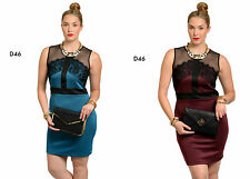 D46 New Womens Bodycon Sleeveless Mesh Lace Cocktail Wedding Pencil Party Dress