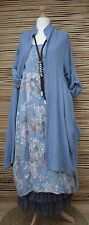 LAGENLOOK LINEN OVERSIZE AMAZING 2 PCS FLORAL DRESS+LONG JACKET***BLUE***XL-XXL