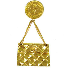 Brooch Pin Corsage Gold France T04466 Auth Chanel Vintage Cc Logos Bag Motif
