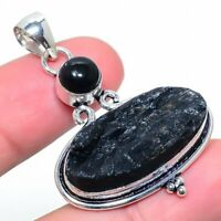 "Black Tourmaline Onyx Gemstone Handmade Ethnic Jewelry Pendant 1.85"" VS-1193"